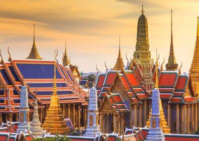 SOUTHERN Traveler/Shutterstock.com // Grand palace and Wat Phra Keaw at sunset Bangkok, Thailand