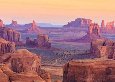 Elena_Suvorova/Shutterstock.com // Sunrise in Hunts Mesa, Monument Valley, Arizona, USA