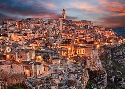 ermess/Shutterstock.com - Matera, Basilicata, Italy: landscape at dawn of the old town (sassi di Matera), European Capital of Culture